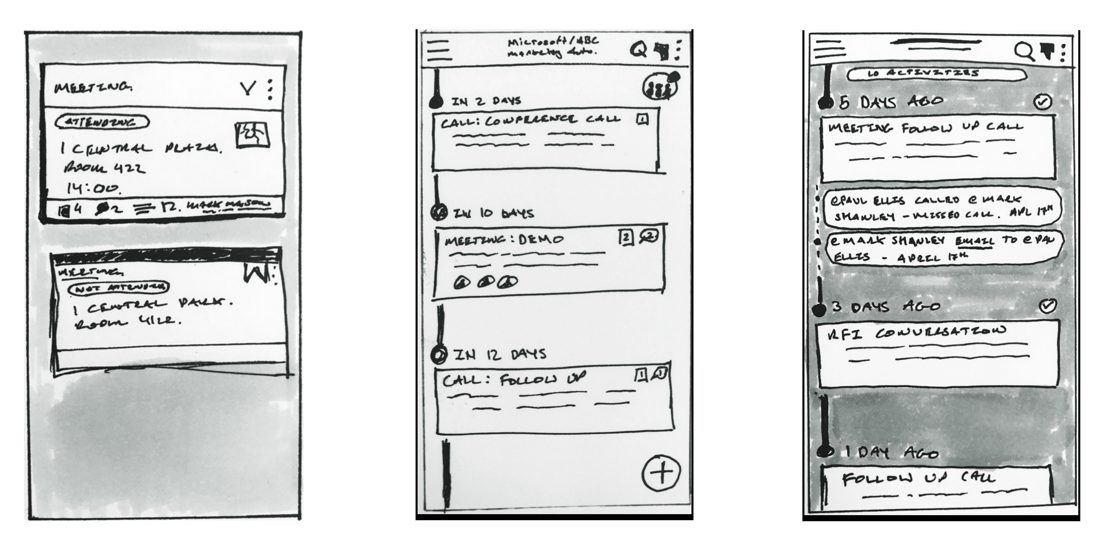 Timeline view design iterations of the Concordo app