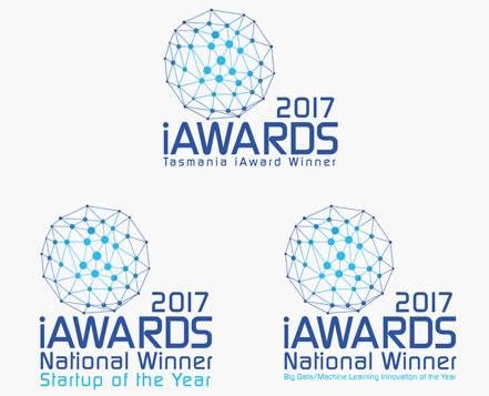 iAwards: Tasmania Winner, National Winner - Startup of the Year, National Winner - Big Data/Machine Learning Innovation of the Year