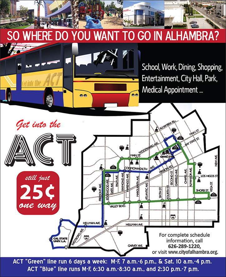 Imge of ACT flyer that outlines the Green and Blue line routes