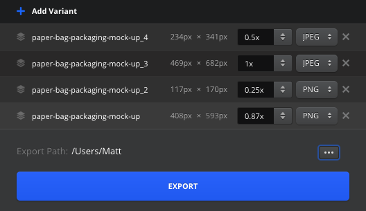 "To launch this modal, just click on a layer and hit ""Export"""