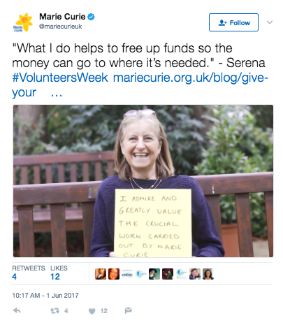 Tweet from Marie Curie charity