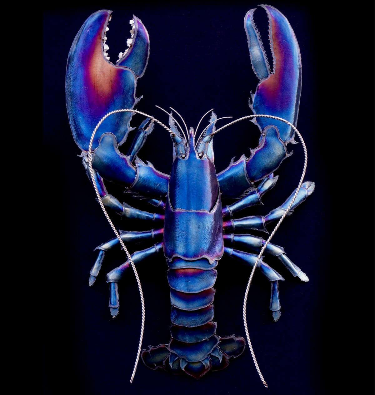 Metal blue lobster sculpture