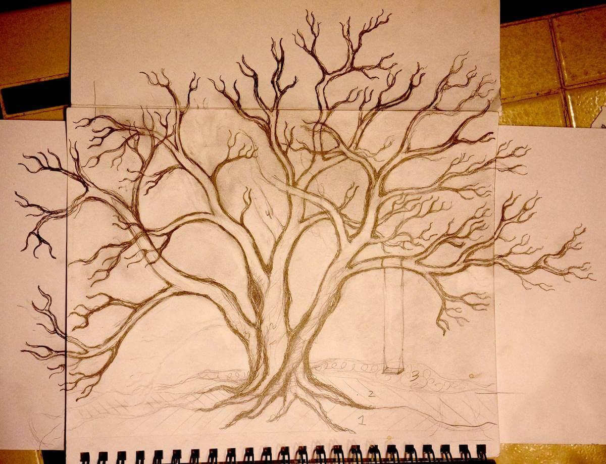 Original sketch for metal snow laden tree sculpture
