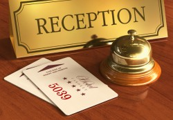 reception with bell and keys - running Hetras Cloud Based Hotel Management Software