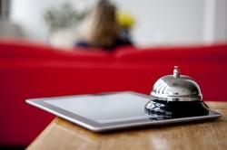 Tablet on front desk - running Hetras Cloud Based Hotel Management Software