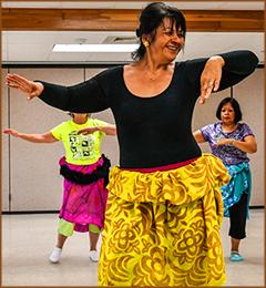 Seniors Doing a Hula Dance