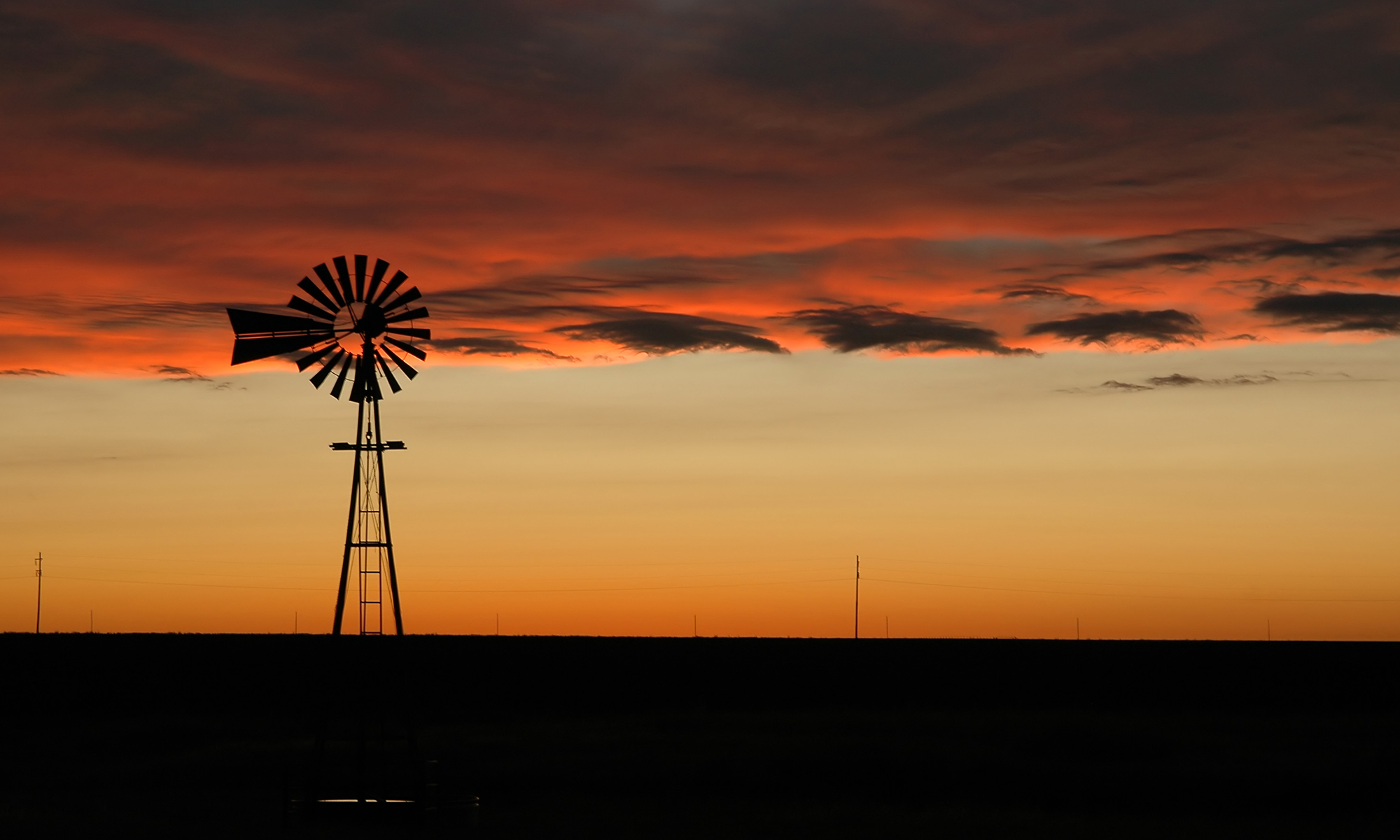 Oklahoma Windmill at Sunset