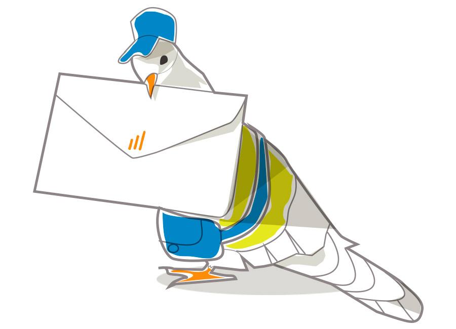 Explore todos os canais de comunicação que estão ao seu alcance, para manter um contato próximo com o seu cliente. Na imagem, um pombo está vestido de carteiro, com uma cartinha no seu bico.