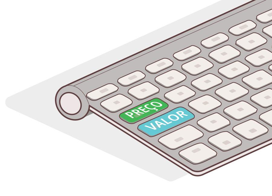 """Preço é diferente de valor. No artigo da Academia 360, você aprende a estabelecer o seu preço, mesmo que o concorrente canibalize o seu mercado. Na imagem, um teclado de computador tem duas teclas diferenciadas: """"preço"""", em verde e """"valor"""", em azul."""