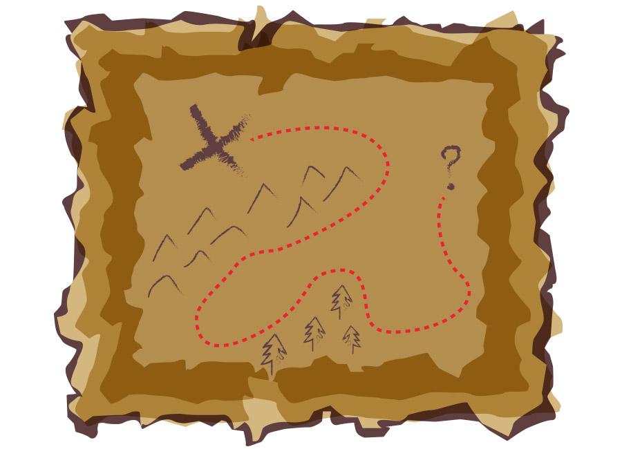 """No marketing digital, não existe mapa do tesouro. O que existe é muito teste! Na imagem, um mapa com um """"X"""" que leva a uma interrogação ao longo do caminho."""