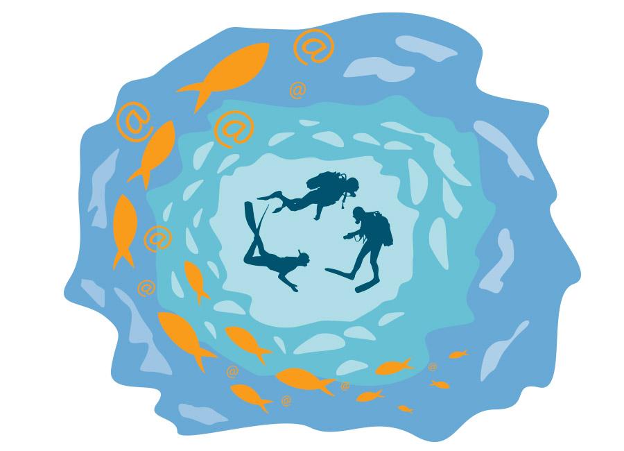 """Pense no mercado de consumidores do seu ramo como um enorme iceberg no vasto mar que é a internet. Nós só conseguimos ver a sua ponta fora da água, que são os leads quentes, pessoas que estão à procura daquilo que você vende. Na imagem, um grupo de mergulhadores nada dentro de um oceano, em sua volta há peixes com """"@""""fazendo alusão aos leads."""