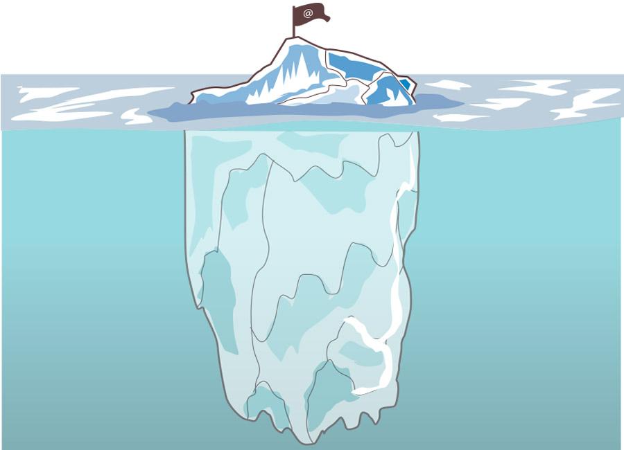 """Seja o primeiro a alcançar a parte submersa do iceberg, vá mais fundo que os outros que só esperam o cliente chegar com um problema específico do cliente. Na imagem, um iceberg tem só um pequeno pedaço à vista, enquanto grande parte está abaixo d'água. Em seu topo, uma bandeira com """"@""""."""