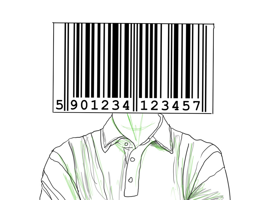 O seu público acha caro o que você vende? Na imagem, a cabeça de um homem dá lugar a um imenso código de barras.