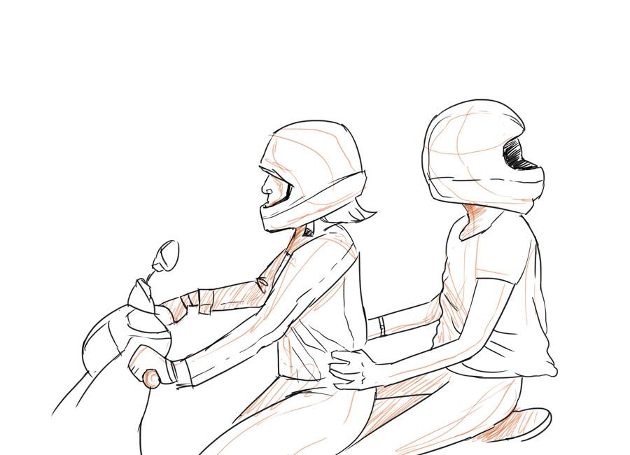 Esteja sempre atento à facilidade de usuário em utilizar o seu produto ou serviço. Na imagem, duas pessoas em uma moto, a da garupa está com o capacete virado para o lado errado. A viseira aponta para a sua nuca.