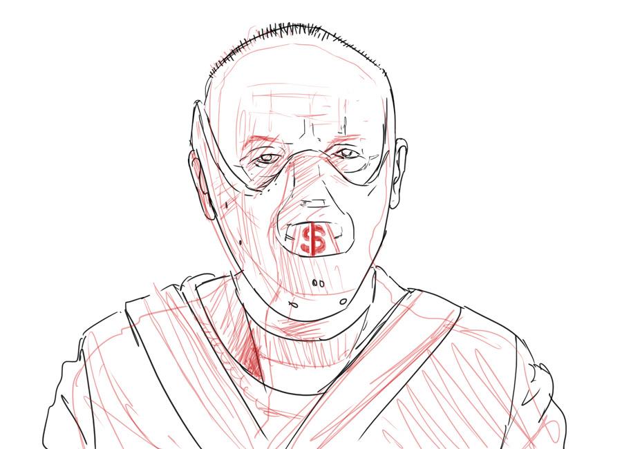 """Seu concorrente canibaliza o mercado? os conteúdos da Academia 360 t eajudam a contornar isso. Na imagem, uma alusão ao """"Hannibal"""", em sua """"focinheira"""" tem um """"$""""."""