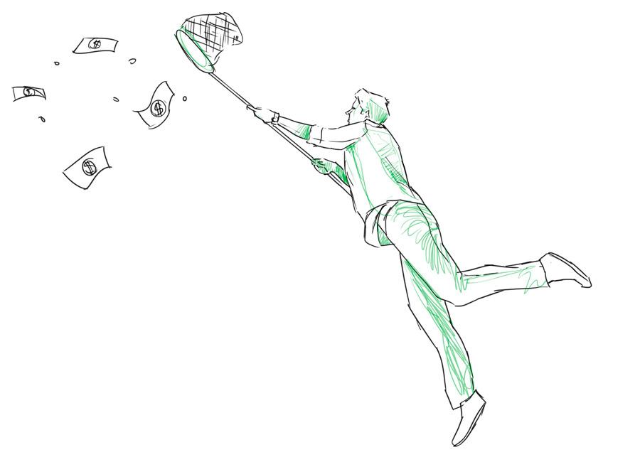 Sem dinheiro para investir. Na imagem, homem tenta capturar notas e moedas que estão voando com a ajuda de uma rede.