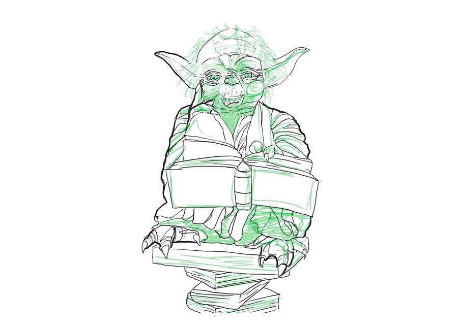 mestre Yoda em cima de uma pilha de livros, folheando um livro.