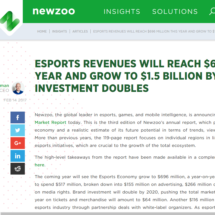 Esports Revenues will reach $696 Million