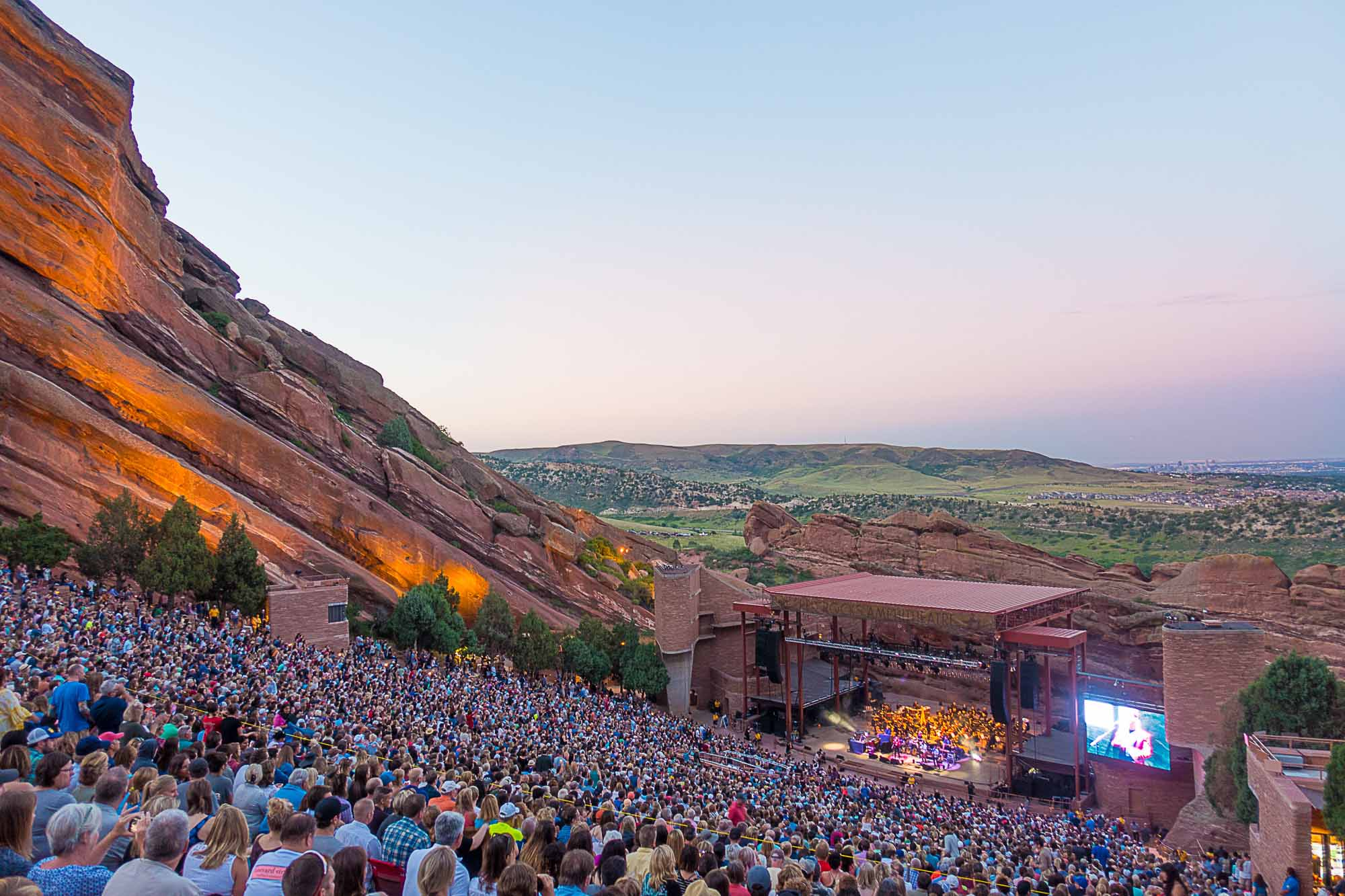 A band performs at Red Rocks in Colorado.
