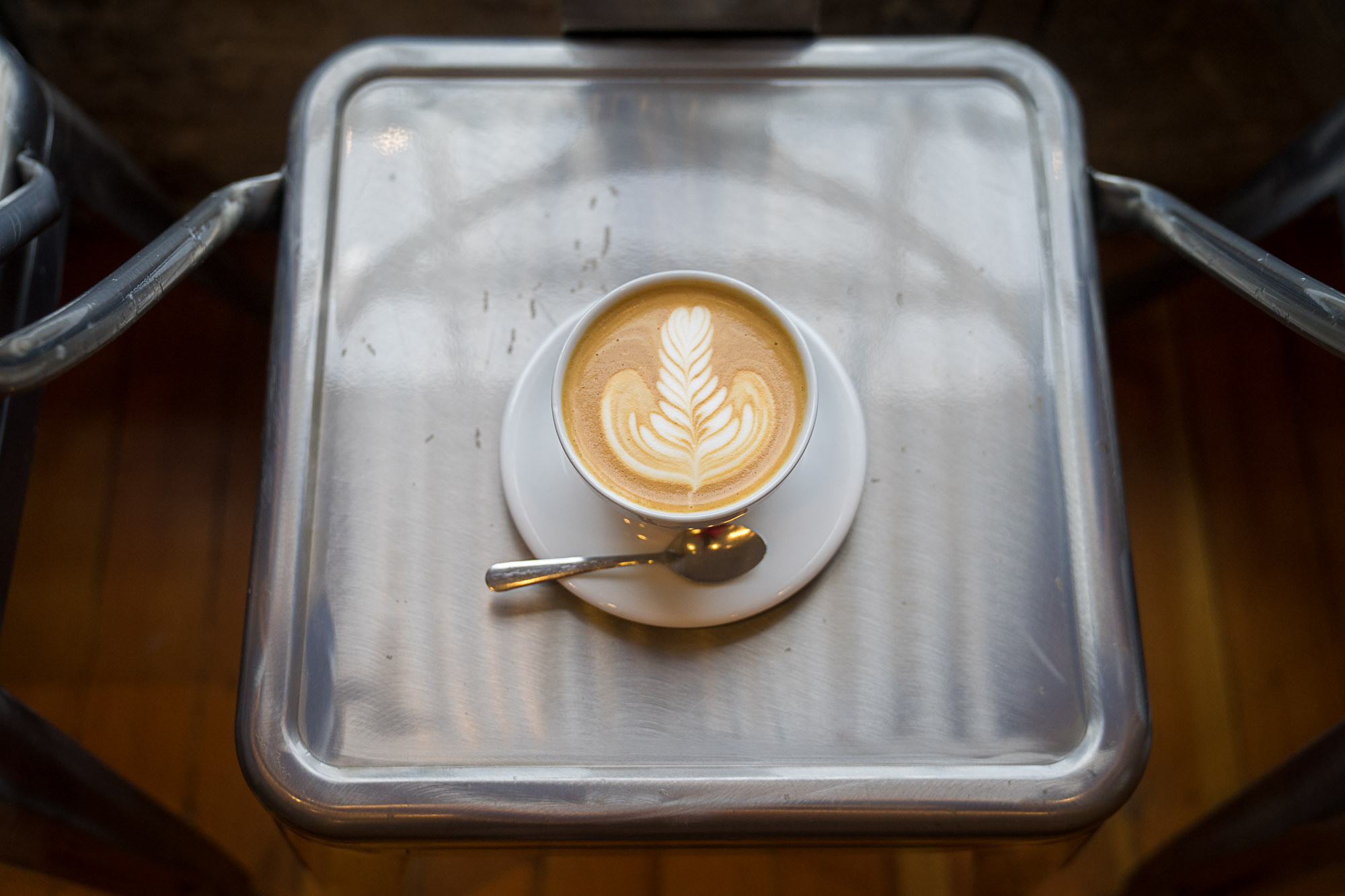 coffee from Publik Coffee Roasters with artistic foam