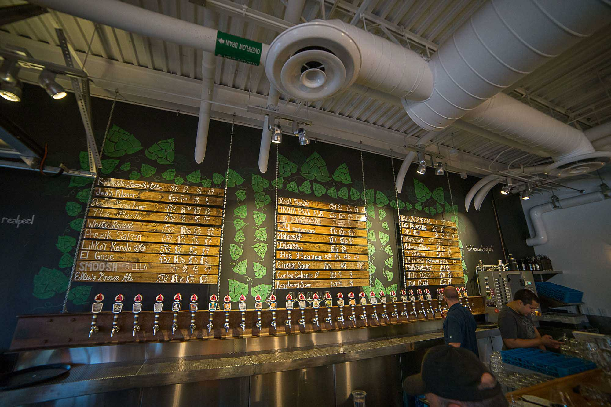 A view of the beer list and tap lines at Avery Brewing in Boulder, Colorado for Dirt Road Travels