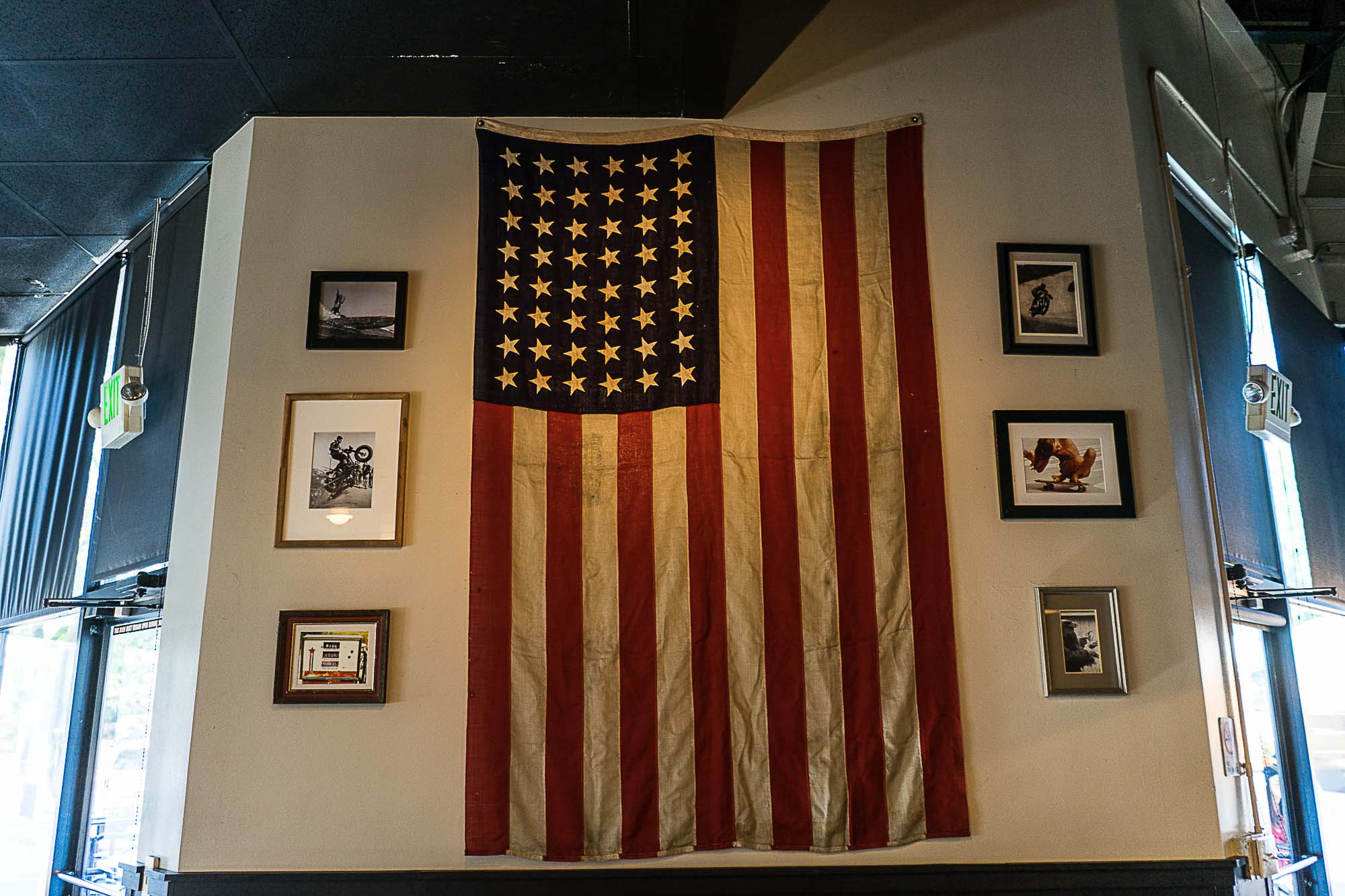 Decorative wall with an American flag at The Universal in Denver.