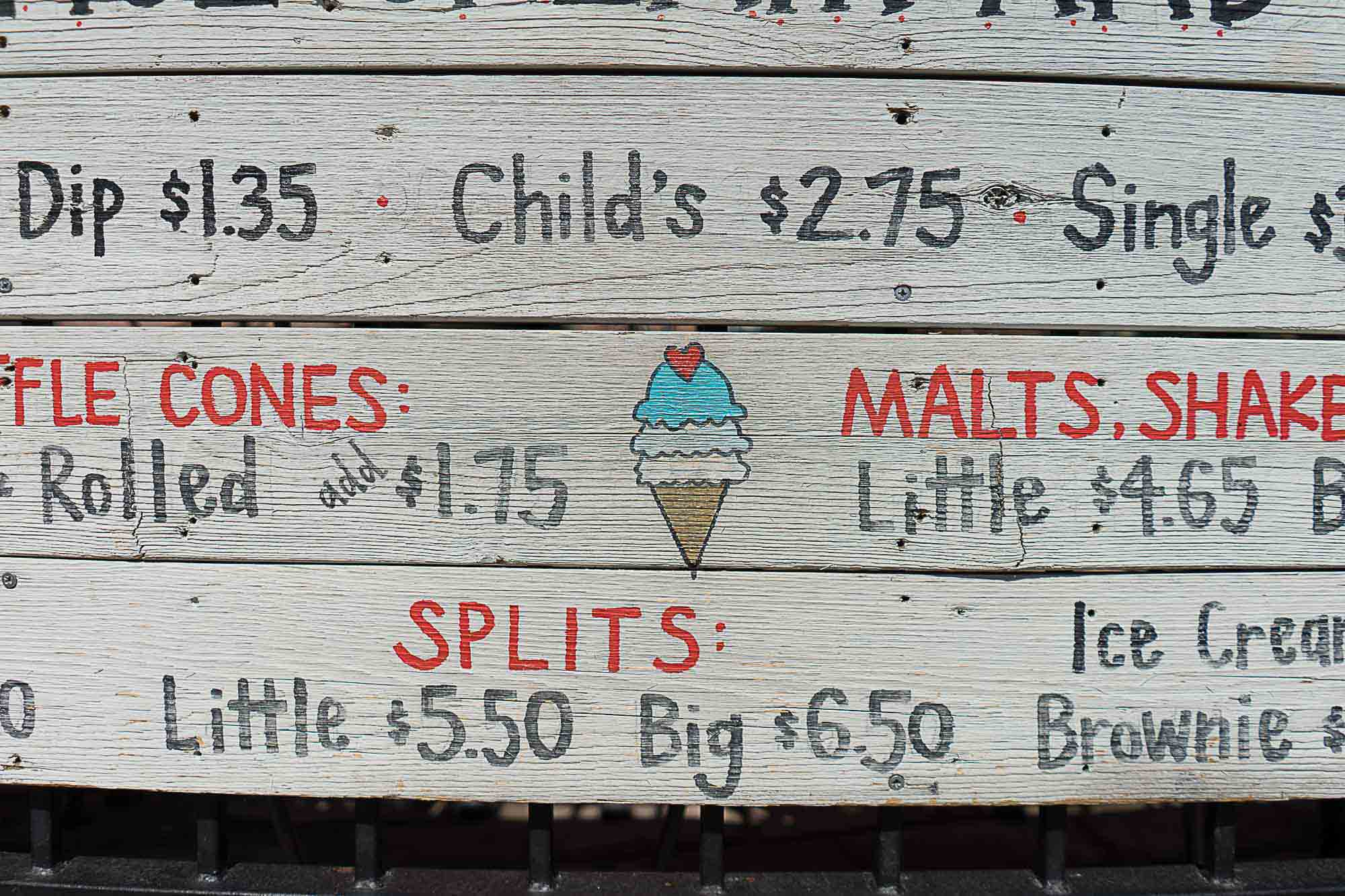 Close up of the menu at Little Man Ice cream in Denver.