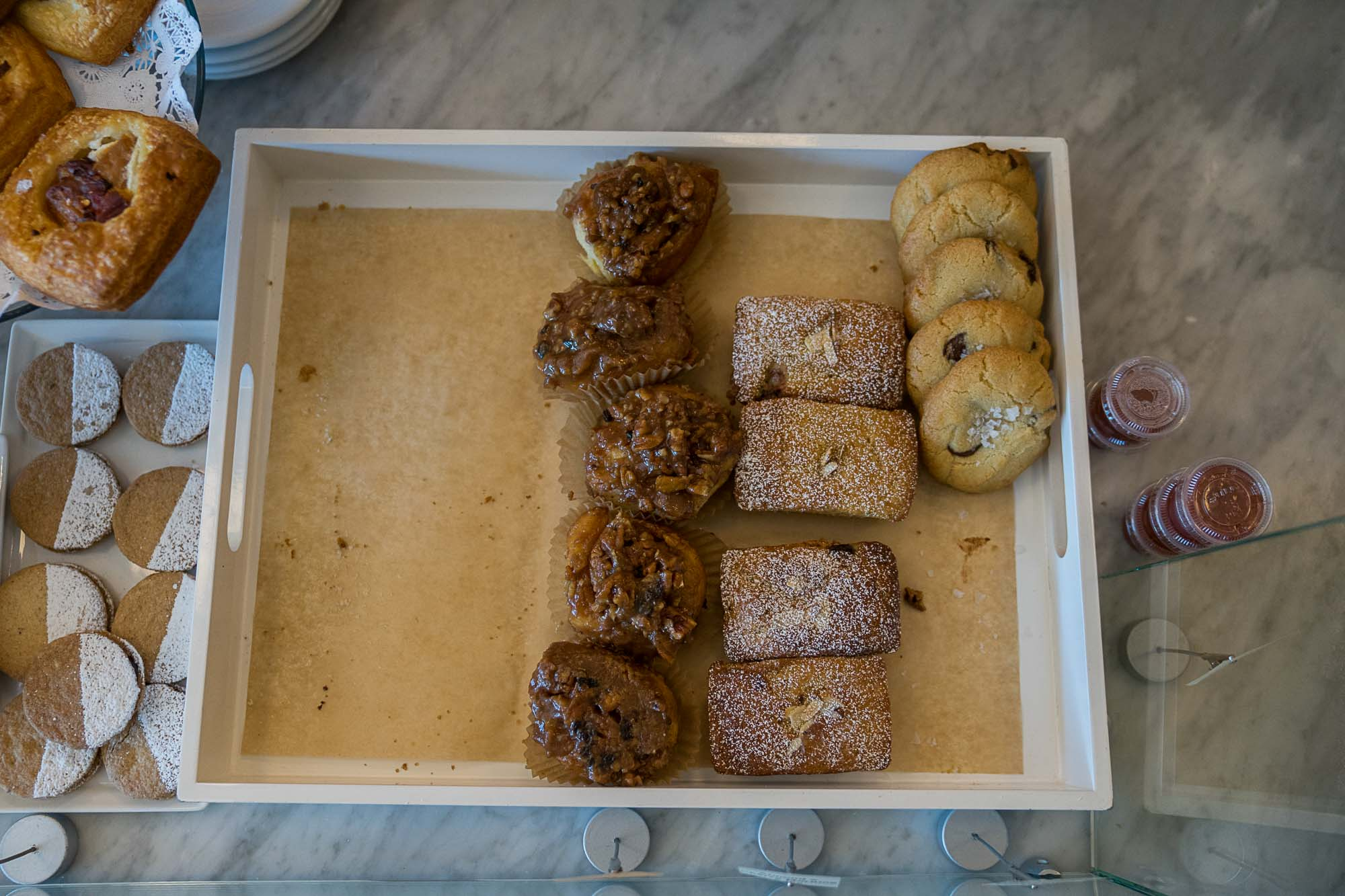 A plate of cookies and doughnuts at Boxcar Coffee Roasters in Boulder, Colorado.