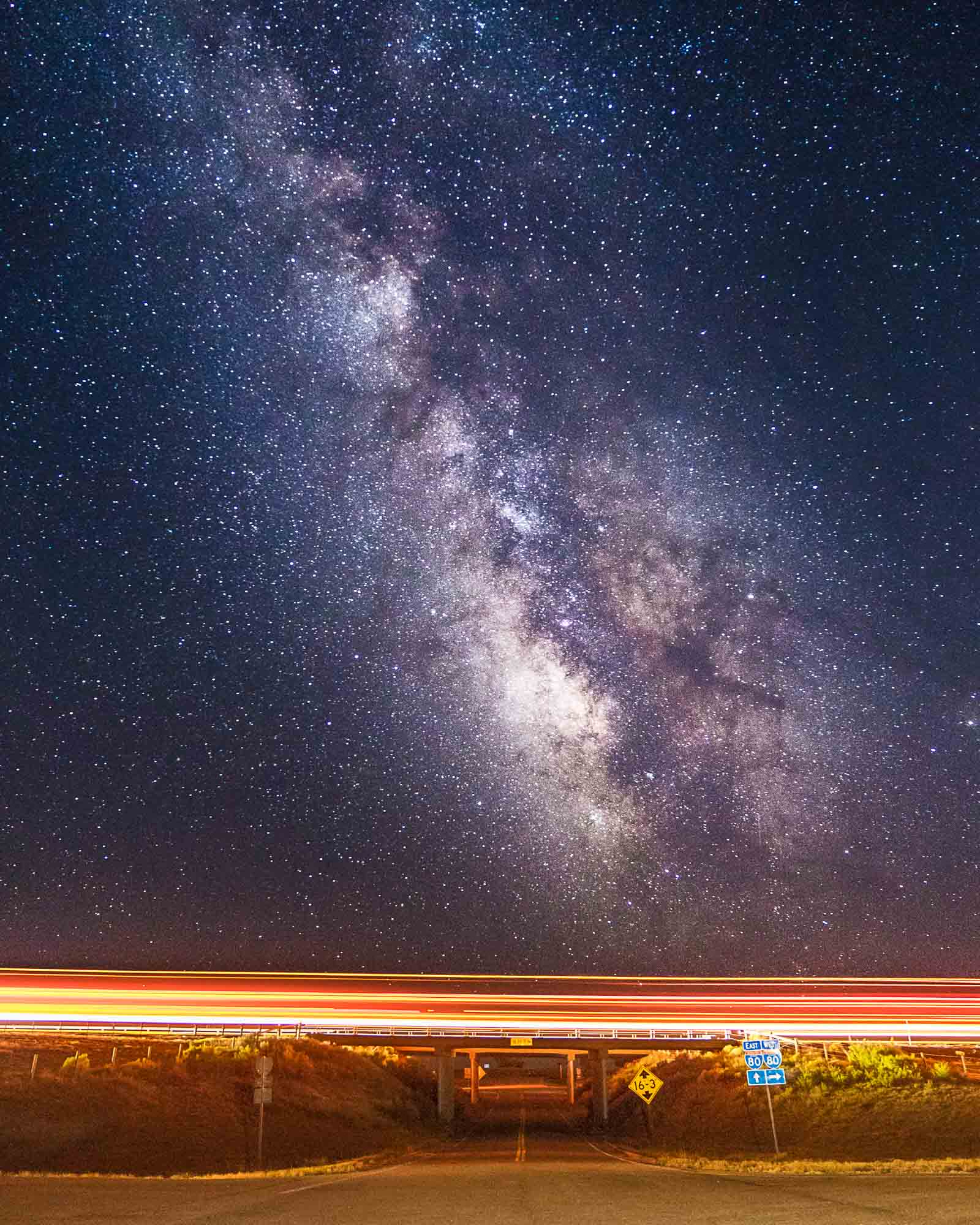 The milky way over I-80 outside of Little America in Wyoming.