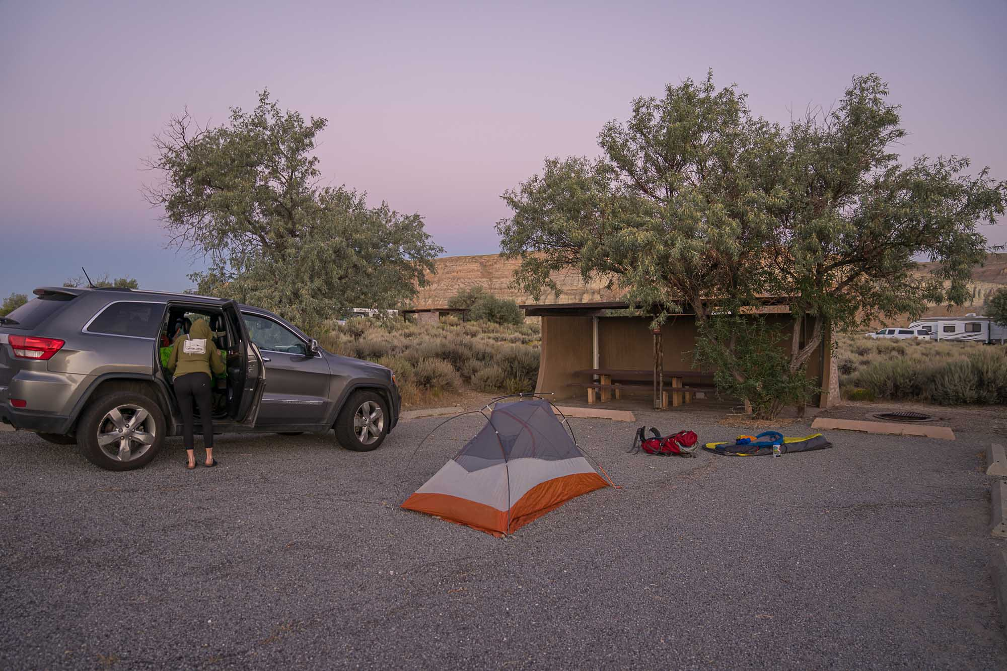 A tent for car camping in Green River, Wyoming.