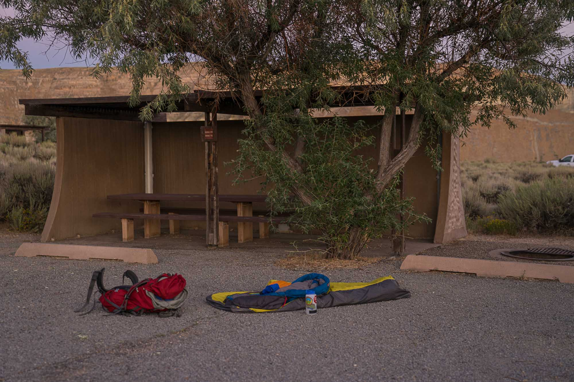 A sleeping bag and backpack in Firehole Canyon in Green River, Wyoming.