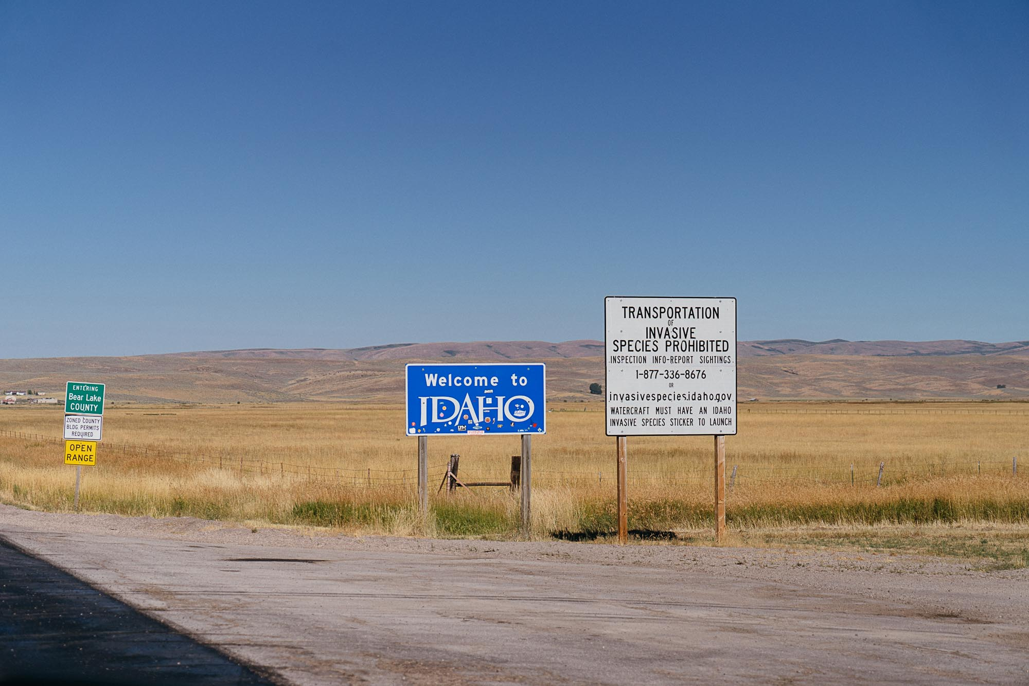The 'Wecome to Idaho' sign, coming into the state from Cokeville, Wyoming.