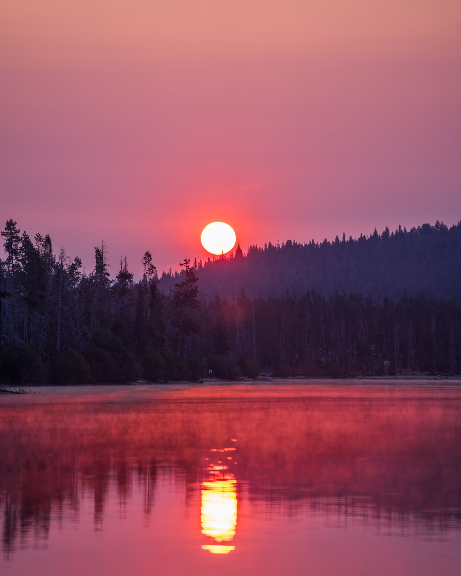 The sunrise over Stanley Lake.