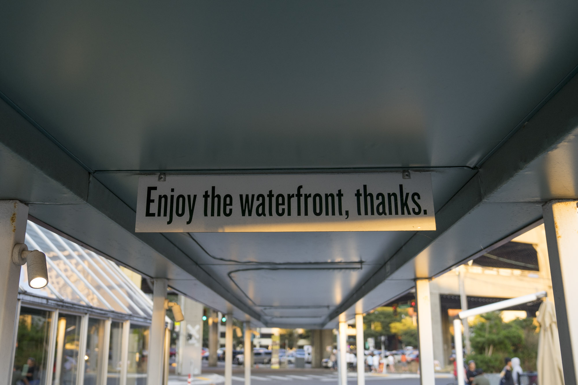 A sign above the harbor in Seattle, Washington.