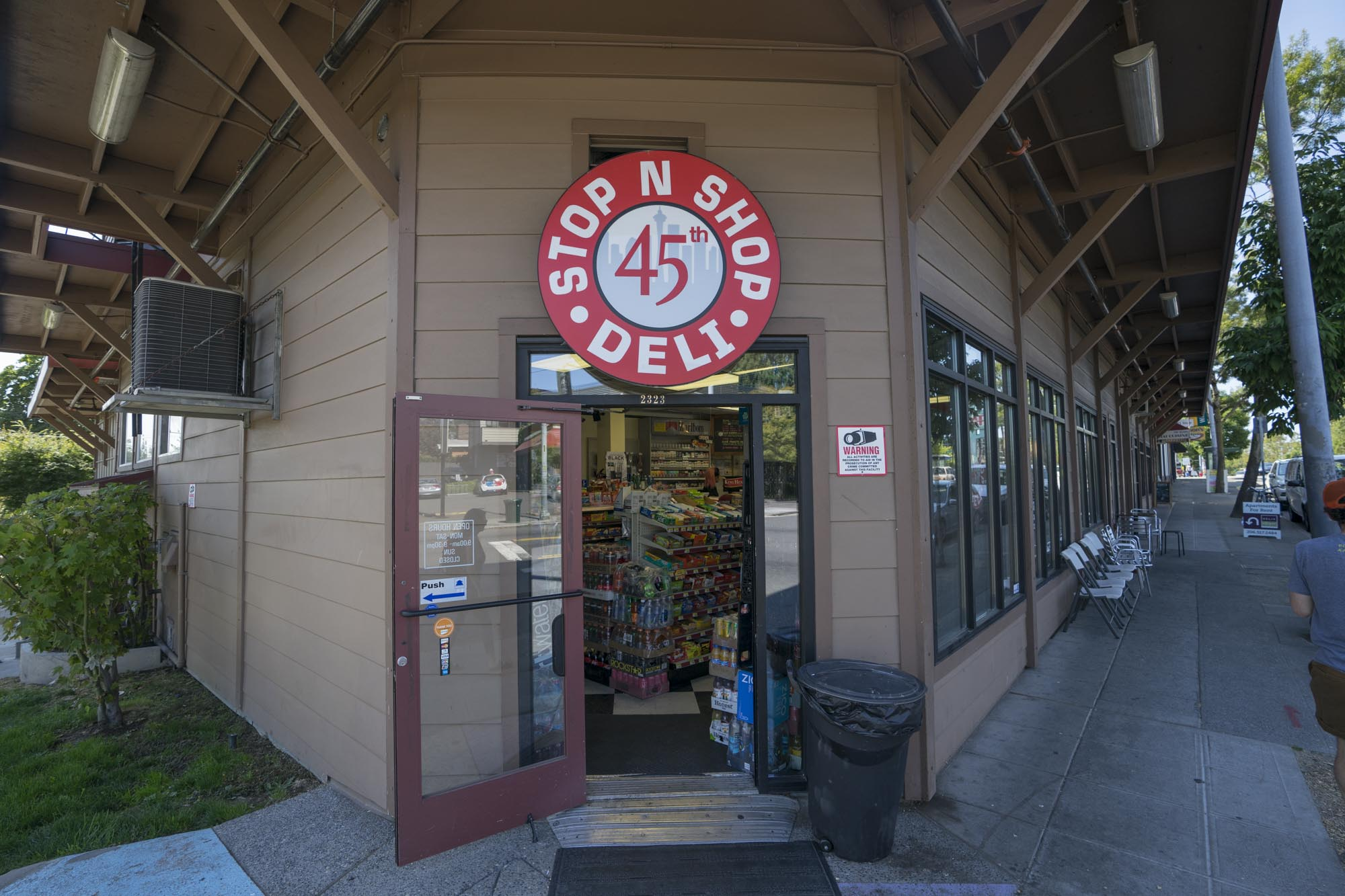 The facade of 45th Stop & Shop in Seattle, WA.