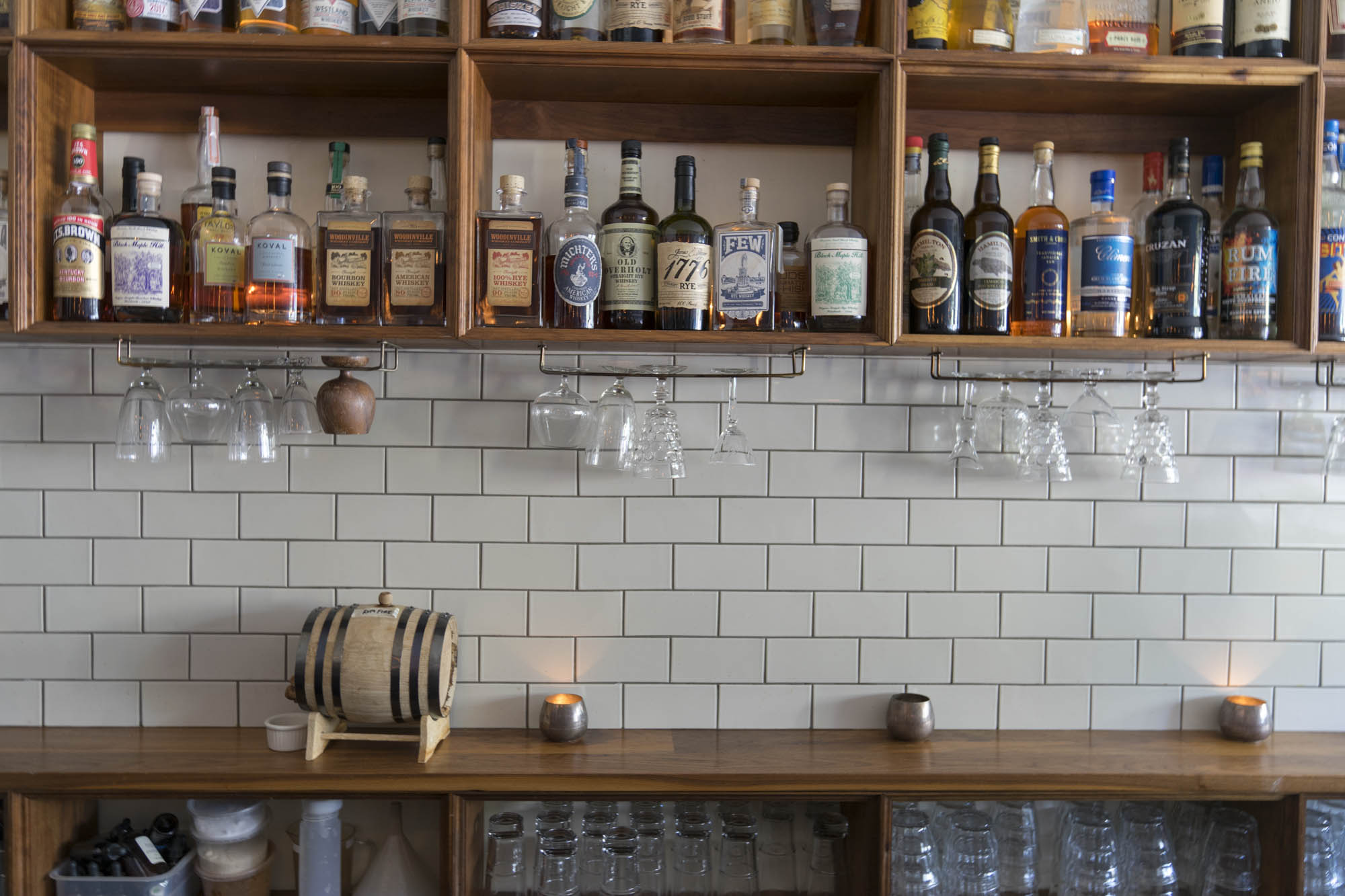 A few bottles of whiskey, liquor and wine at Essex in Seattle.