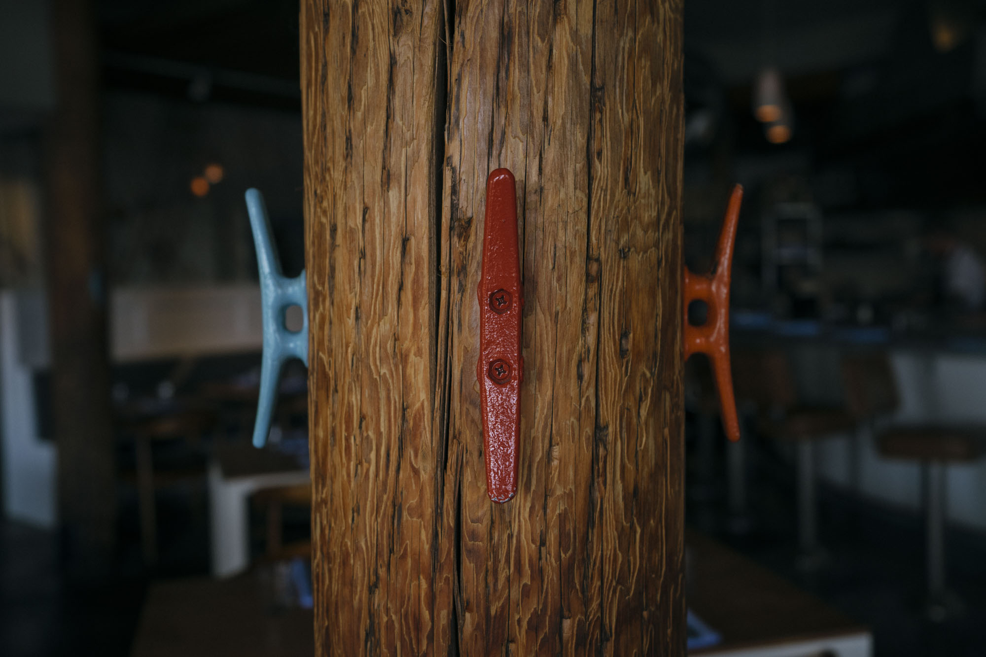 A set of hooks on a bark at Westward in Seattle.