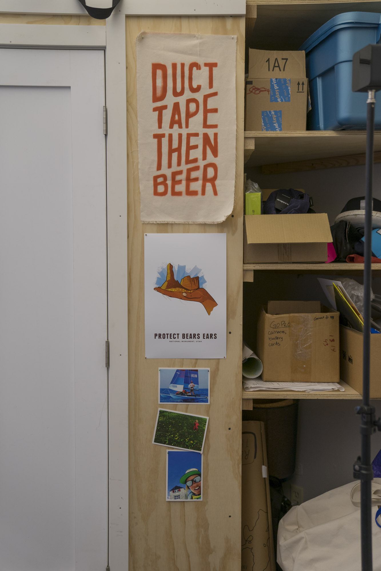 Duct Tape Then Beer sign and boxes in Seattle.