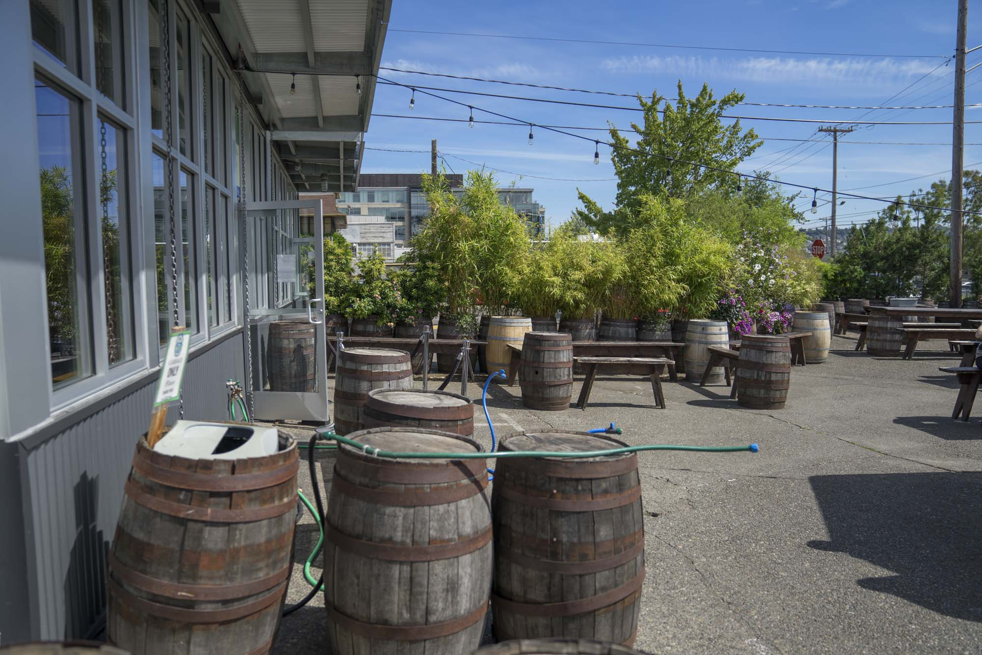 Casks sit outside on the patio at Fremont Brewing in Seattle.