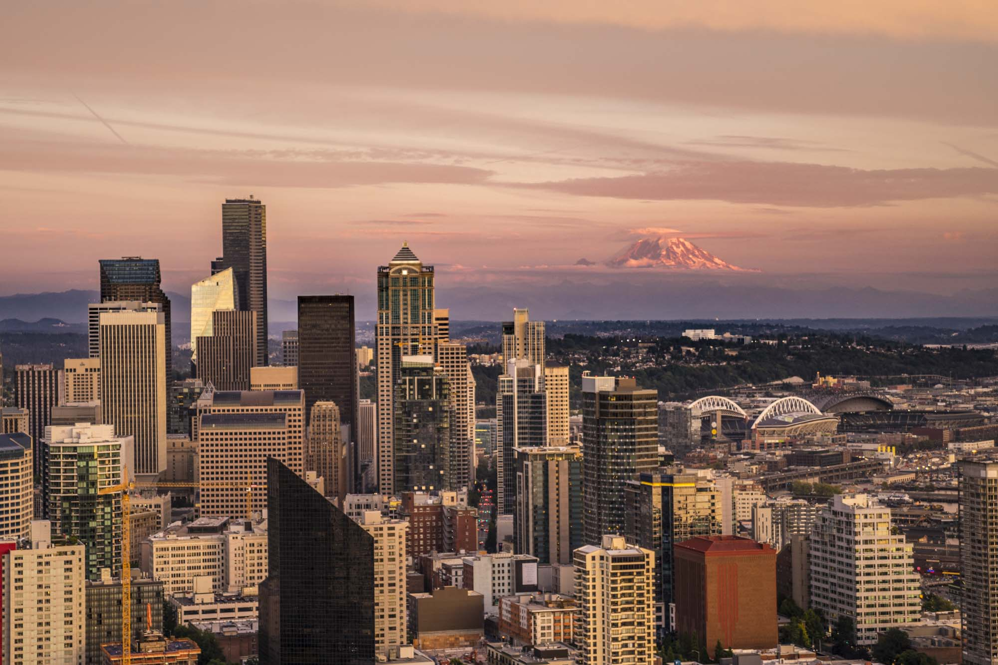 The Seattle skyline with Rainier in the distance.