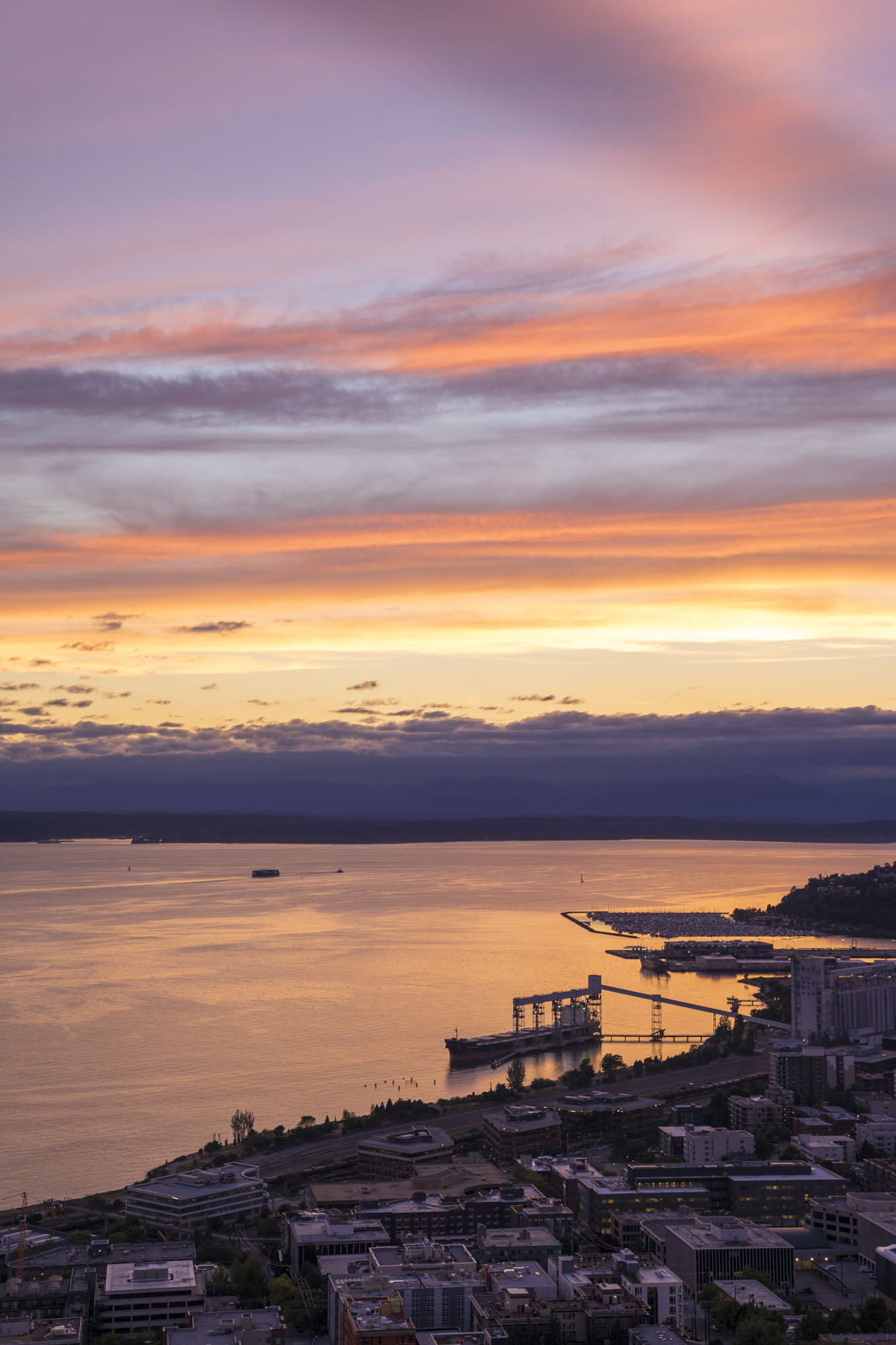 Seattle as the sunsets with bright oranges and purples.