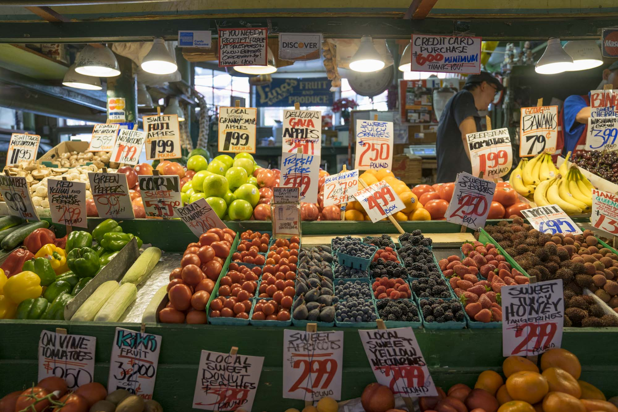 Fruit and vegetables inside Pike's Place market.