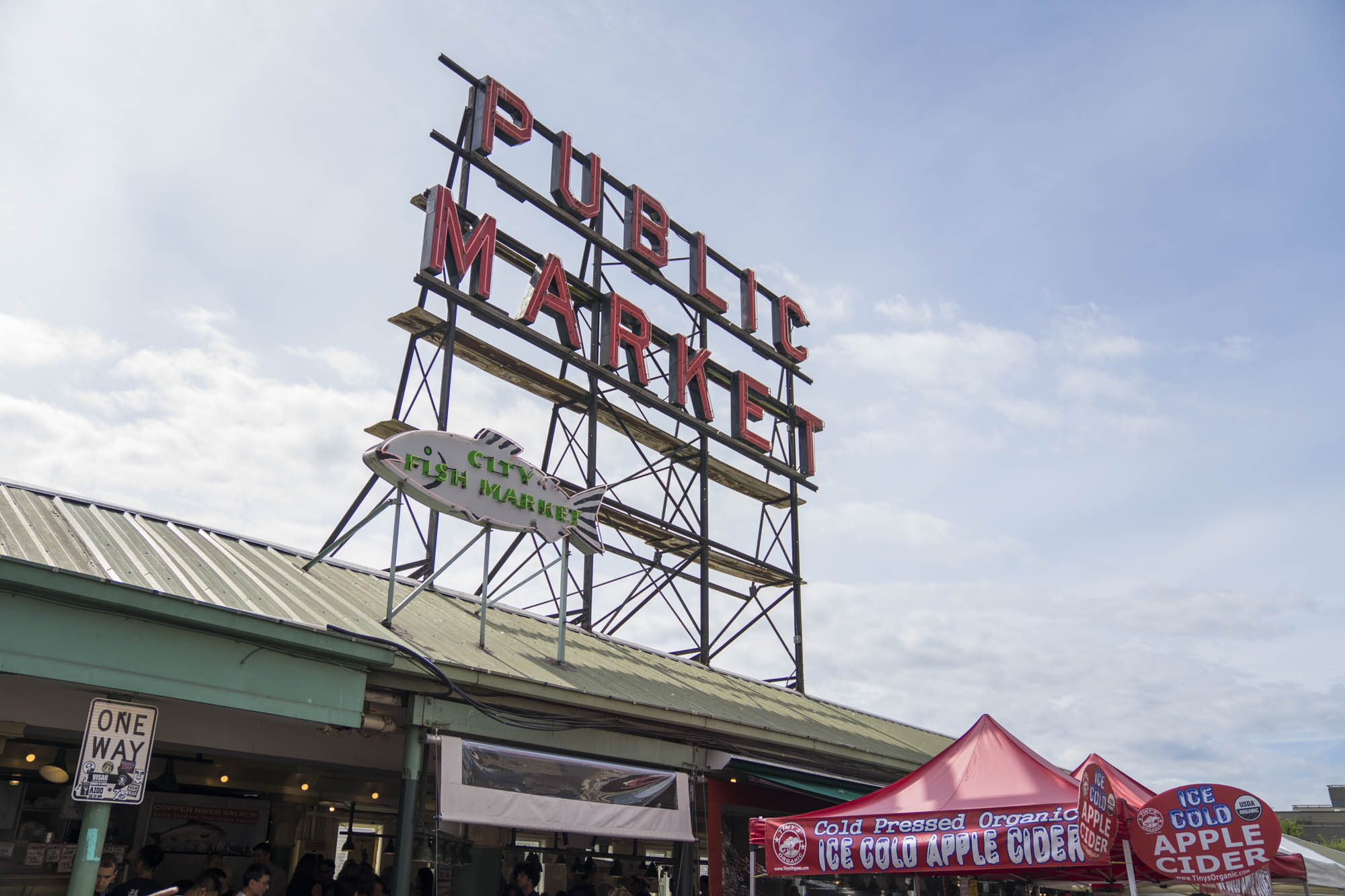 Public Market sign outside of Pike's Place in Seattle.