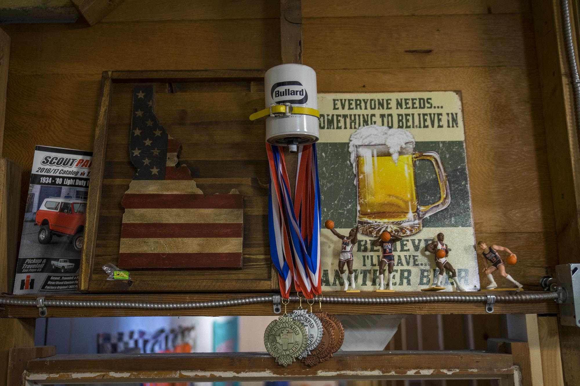 Medals hang on the wall at Cloudburst in Seattle.