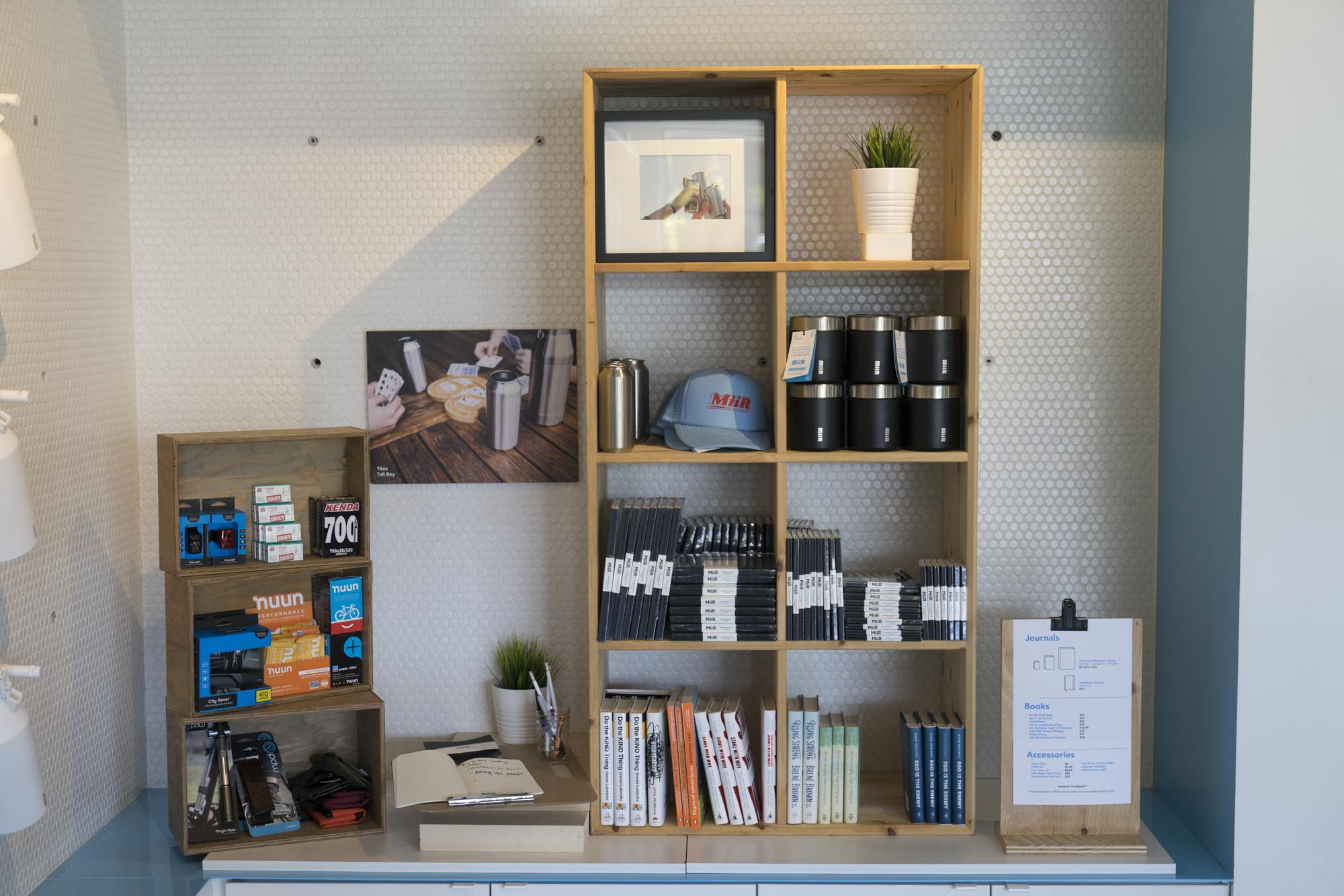 MiiR products and books for sale at MiiR Flagshpi in Seattle.