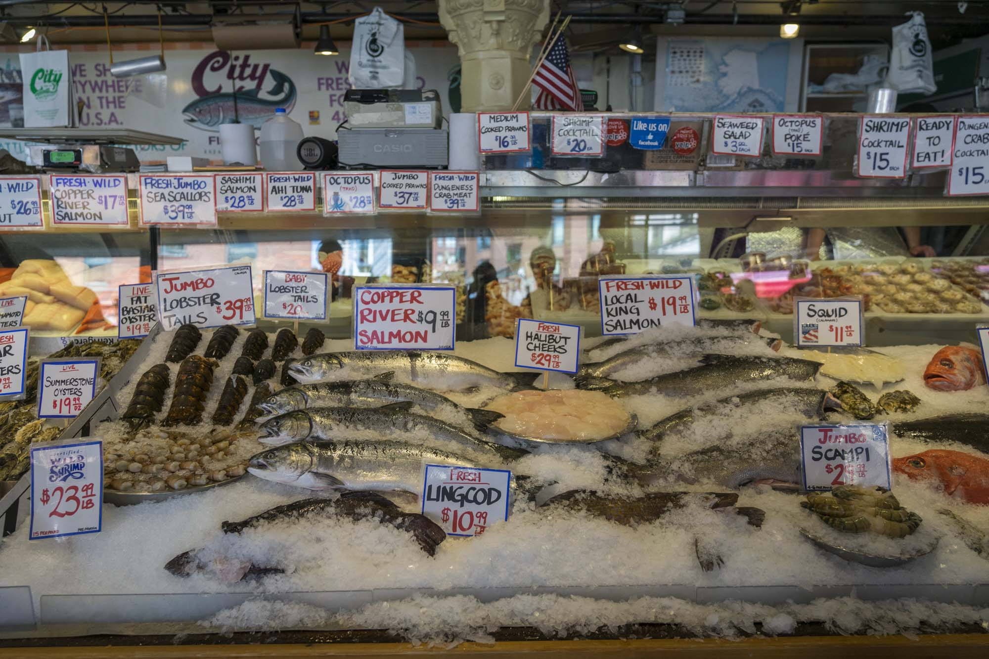 More fresh fish inside Pike's Place.
