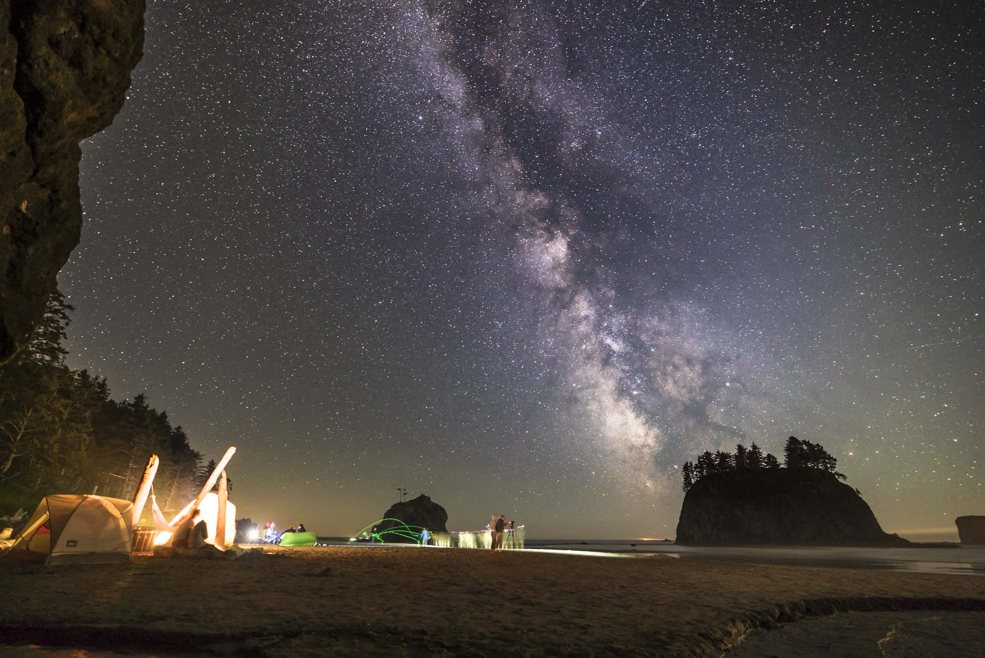 Camping and stars at Second Beach in Olympic National Park.