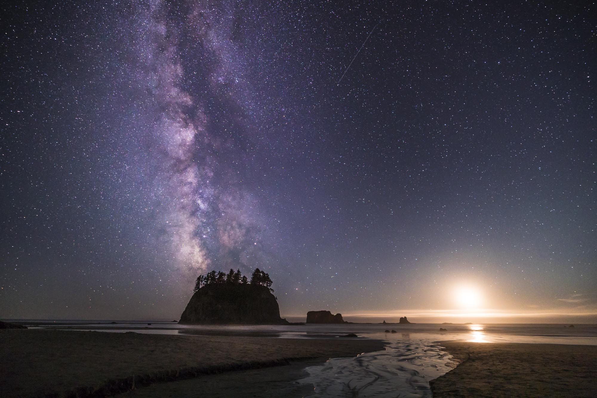 Second Beach in Olympic National Park at night.