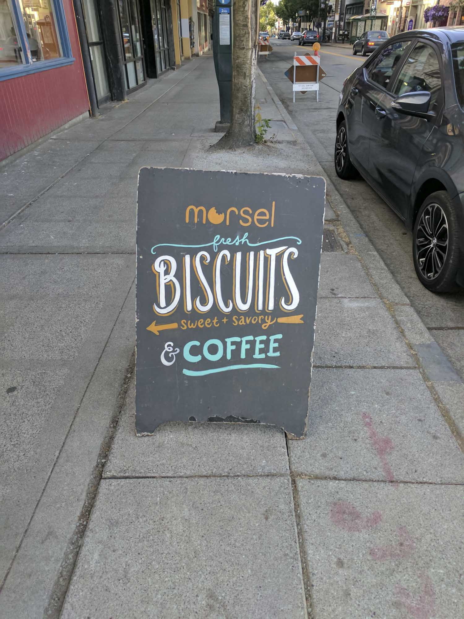 A sign outside of Morsel in Seattle.