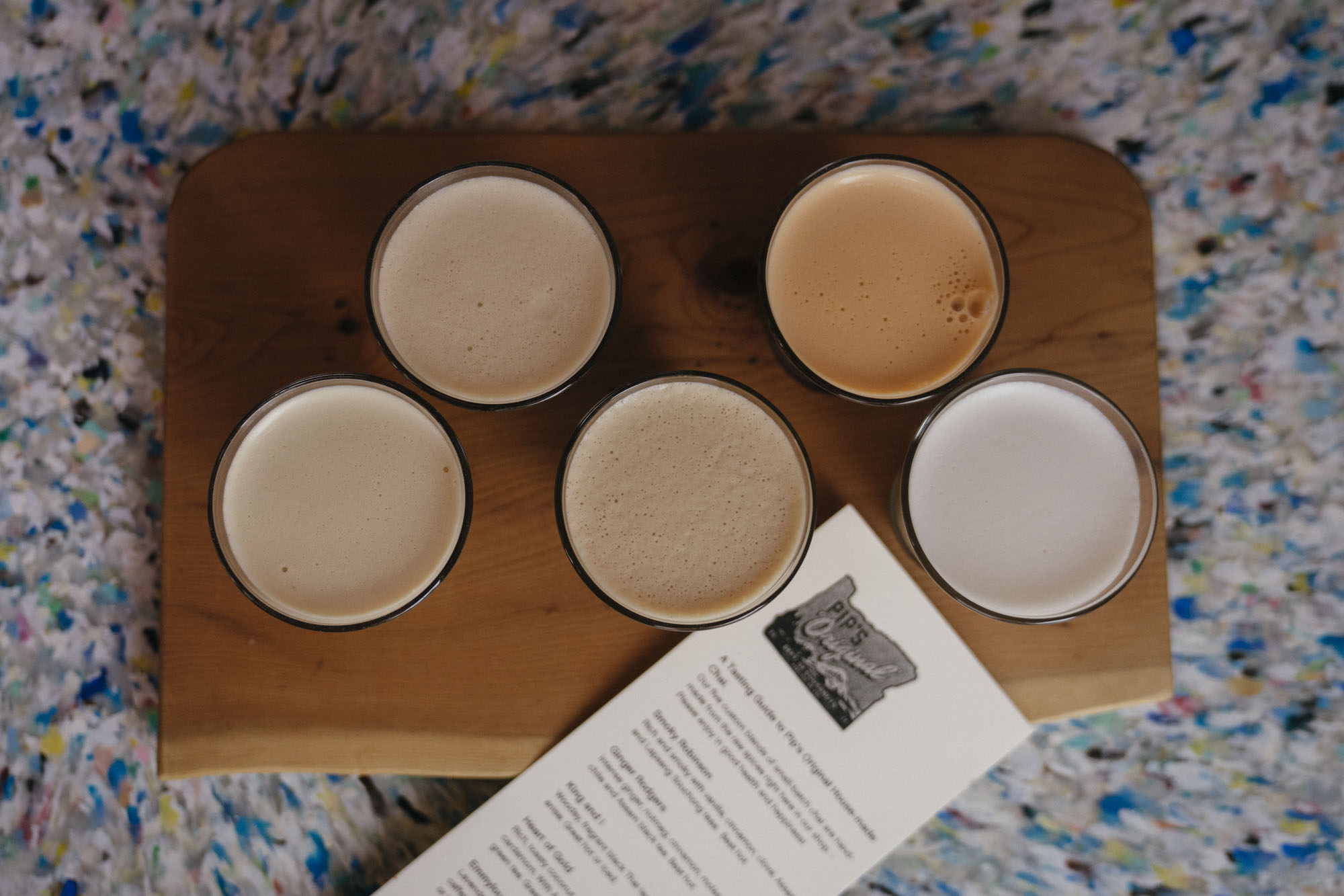 A chai flight of coffee at Pips in Portland for Dirt Road Travels